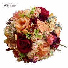 silk bridal bouquets silk wedding flower dahlia bouquet flowers bridesmaid