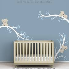 Etsy Nursery Decor Baby Wall Decals For Nursery Decor White Tree Blue Leaves Wall