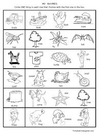 printable worksheets rhymes rhyming fun preschool kindergarten