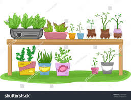 Gardening Table Illustration Gardening Table Filled Recycled Flower Stock Vector