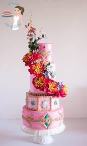 Pretty in Pink Peony Wedding Cake Veena Azmanov
