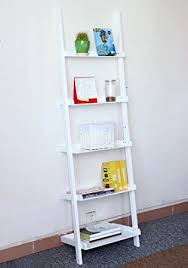 Leaning Bookshelf Woodworking Plans by Amazon Com Go2buy Modern White Wood 5 Tier Leaning Ladder Shelf