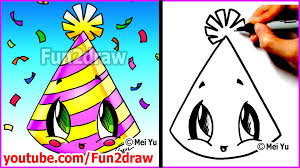 easy things to draw new years party hat mei yu u0027s new year u0027s
