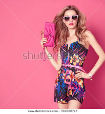 fashion woman trendy spring summer dress stock photo 569938747