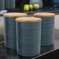 Funky Kitchen Canisters Ceramic Retro Tea Coffee Sugar Canisters Jars Kitchen Storage Set