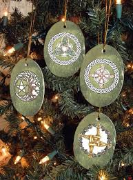 set of four magical symbols yule winter solstice ornaments on etsy