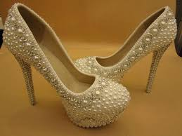 wedding shoes rhinestones ivory pearl rhinestone closed toe platform bridal wedding shoes