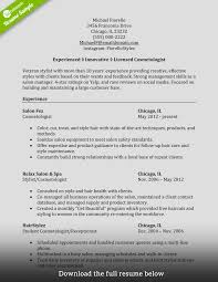 Cosmetology Resume Resume For A Cosmetologist Free Resume Example And Writing Download
