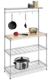 Kitchen Island With Pot Rack Amazon Com Whitmor Supreme Baker U0027s Rack Wood U0026 Chrome Home U0026 Kitchen
