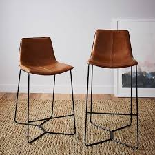 bar stools wood and leather slope leather bar counter stools west elm