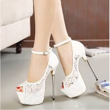 bridal white lace wedding shoes designer shoes ankle 16cm - White Lace Wedding Shoes