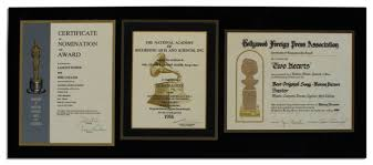lot detail trio of nomination certificates for entertainment u0027s