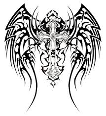tribal celtic cross white ink or pink n black or pink