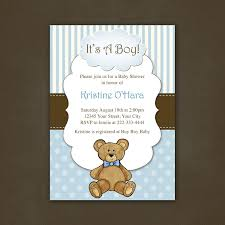 boy teddy bear baby shower invitation printable file 12 00 via