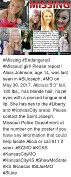 St Joe Memes - missing missingendangered mo girl alicia johnson age 14 was last