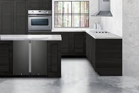 gray kitchen cabinets with black stainless steel appliances introducing black stainless steel for undercounter