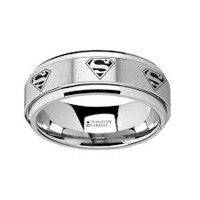 superman wedding rings spinning superman logo engraved tungsten carbide spinner wedding