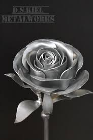 silver roses metal stem steel silver painted steunk prize