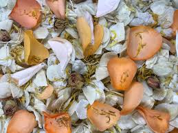 real petals orange and ivory wedding confetti mix biodegradable and