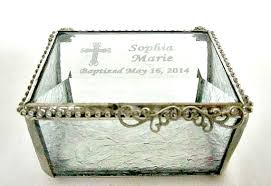 baptism engraved gifts stained glass box personalized engraved bevel lid glue chip