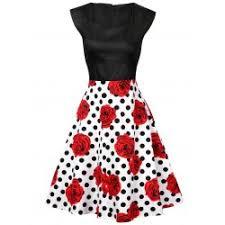 black white polka dot dress fashion shop online twinkledeals com