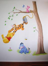 debzys muurschildering winnie de pooh z w wall paintings winnie the pooh knorretje tijgertje en iejoor wanddecoratie voor in de kinderkamer geschilderd