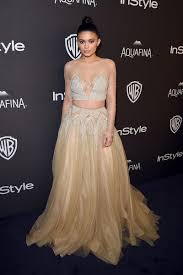 kylie jenner illuison beaded champagne two piece prom dress golden