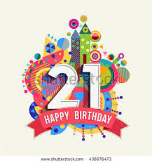 text birthday card happy birthday number 21 greeting card stock vector 539049436