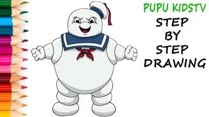 how to draw stay puft ghostbusters coloring pages for kids