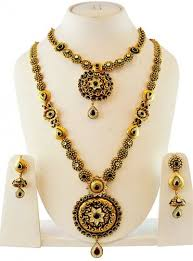 gold antique necklace sets images Gold antique bridal necklace set ajns59868 22k gold antique jpg