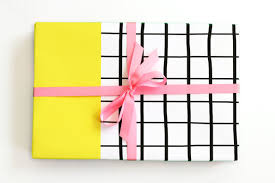 wholesale wrapping paper rolls black and white grid gift wrap yellow color block wrapping paper