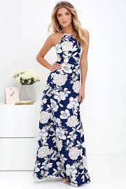 print dress lovely blue floral print dress maxi dress halter maxi 59 00