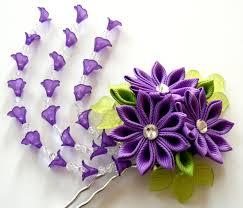 kanzashi hair pin purple kanzashi fabric flower hair fork purple kanzashi