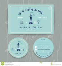 nautical light house wedding invitation and rsvp card template set