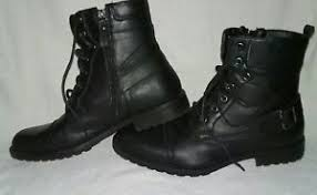 s muck boots size 9 mens apt 9 black leather ankle combat boots buckle lace side