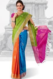 orange and blue combination gorgeous blue u0026 orange combo weaved pure silk saree in golden