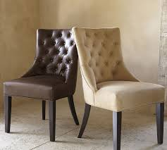 Dining Leather Chair Tufted Leather Dining Side Chair Pottery Barn