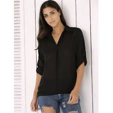 black button up blouse wholesale sleeve chiffon button up casual tunic shirt l black