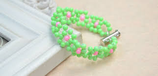 diy beaded flower bracelet images Green seed beaded flower bracelet diy henry craft jewels jpg