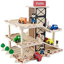 amazon com melissa u0026 doug deluxe wooden parking garage play set