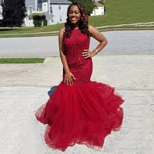 african style red prom dresses mermaid style puffy tulle
