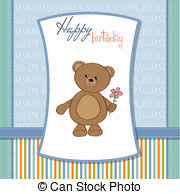 vector of happy birthday teddy bears scalable vectorial image