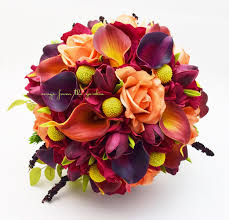 fall wedding bridal bouquet calla lilies tulips hydrangea