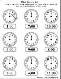 telling time kindergarten worksheets worksheets