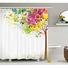 Multi Color Shower Curtains Amazon Com Color Bursting Shower Curtain Set By Ambesonne Tree