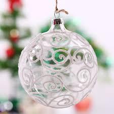 transparent glass white s striped tree ornament