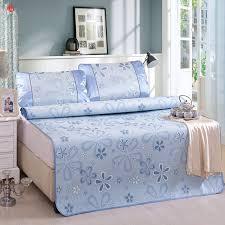 Folding Bed Sheets Summer Cool Bed Mat Set Blue Flower Folding Sheet Pad