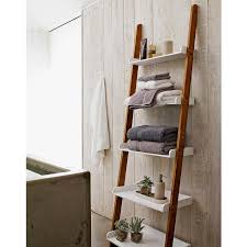 bathroom shelves white porcelain sink black wooden wall mounted