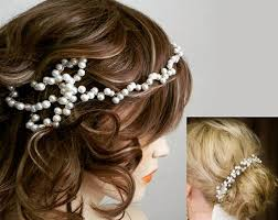 bun accessories 1920s pearl bridal headband gold wedding accessories pearl hair