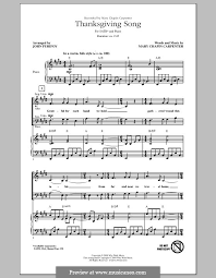 thanksgiving song by m c carpenter sheet on musicaneo